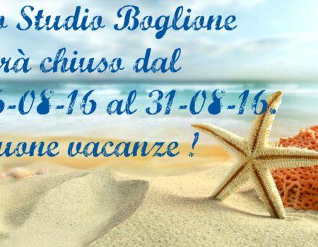 Chiusura estiva Studio Boglione